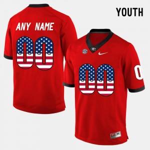 Red Kids #00 UGA Customized Jerseys US Flag Fashion 288280-238