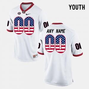 White Kids US Flag Fashion UGA Custom Jersey #00 380504-894