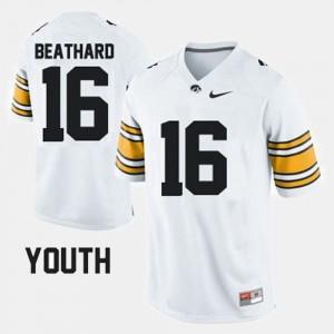 C.J. Beathard Iowa Jersey #16 White Youth(Kids) College Football 819366-244