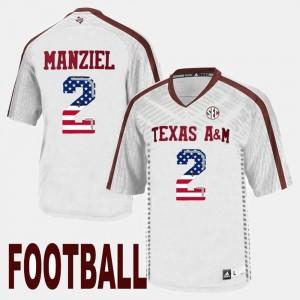 #2 US Flag Fashion White For Men Johnny Manziel Texas A&M Jersey 389102-311