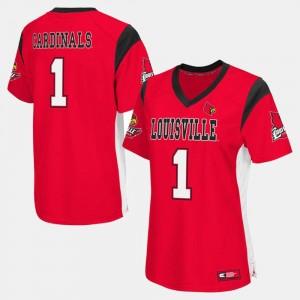 College Football Red Louisville Jersey #1 Women's 697836-835
