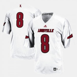 #8 White Louisville Jersey College Football For Men 394279-472
