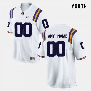 #00 Youth(Kids) White College Limited Football LSU Customized Jersey 214252-534