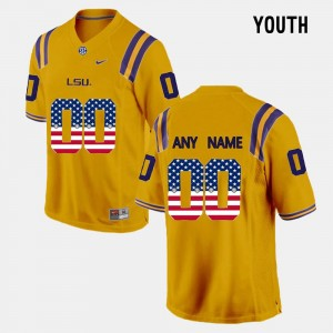 #00 US Flag Fashion LSU Custom Jerseys Gold For Kids 358665-684