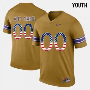 LSU Customized Jersey US Flag Fashion Gridiron Gold Youth #00 459493-999
