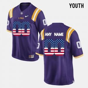 #00 Purple US Flag Fashion Kids LSU Customized Jersey 859328-877