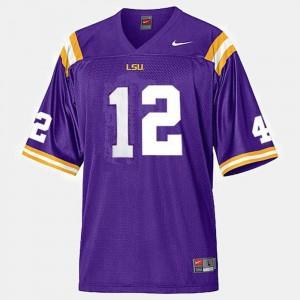 Kids College Football Jarrett Lee LSU Jersey #12 Purple 186980-133