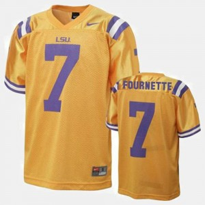 College Football Mens #7 Gold Leonard Fournette LSU Jersey 808068-779
