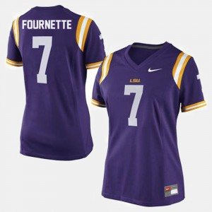 College Football Ladies Purple Leonard Fournette LSU Jersey #7 208647-582