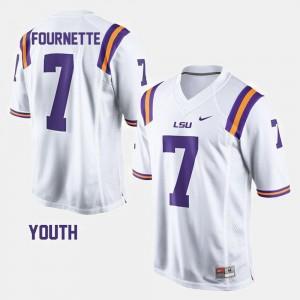 College Football #7 Leonard Fournette LSU Jersey Youth White 260181-654