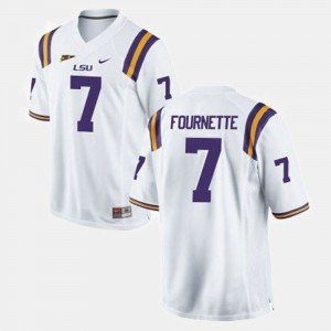 #7 White For Men's College Football Leonard Fournette LSU Jersey 663336-958