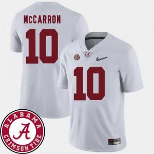 Mens AJ McCarron Alabama Jersey White #10 College Football 2018 SEC Patch 575843-701