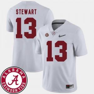 Men's 2018 SEC Patch College Football ArDarius Stewart Alabama Jersey #13 White 403802-291