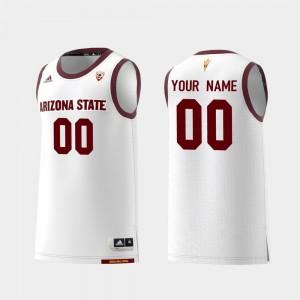 Men's #00 White Replica ASU Customized Jersey College Basketball 766035-529