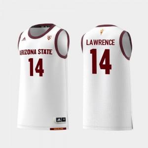 Men's College Basketball #14 Replica Kimani Lawrence ASU Jersey White 878488-906