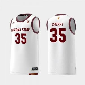Replica #35 Men College Basketball White Taeshon Cherry ASU Jersey 709933-486