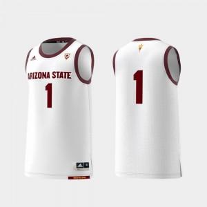 Mens College Replica ASU Jersey #1 White Basketball Swingman 476561-665