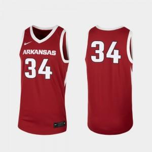 Arkansas Jersey Replica #34 For Men College Basketball Cardinal 868291-575