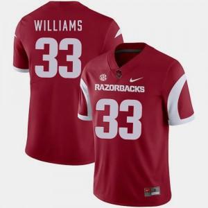 #33 Cardinal For Men's College Football David Williams Arkansas Jersey 807115-565
