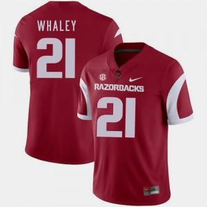 #21 For Men's Cardinal Devwah Whaley Arkansas Jersey College Football 819984-643