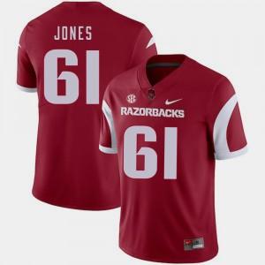 College Football Jerry Jones Arkansas Jersey Cardinal For Men #61 615274-756