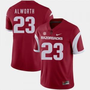 For Men's Cardinal College Football #23 Lance Alworth Arkansas Jersey 209476-691