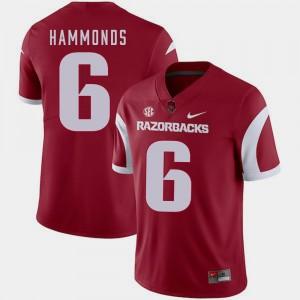 For Men's #6 T.J. Hammonds Arkansas Jersey Cardinal College Football 683752-494