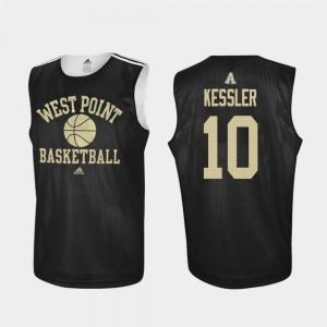 For Men's Black College Basketball Jacob Kessler Army Jersey Practice #10 498749-849