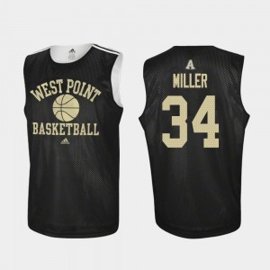College Basketball John Miller Army Jersey #34 Black Practice Men 764444-546