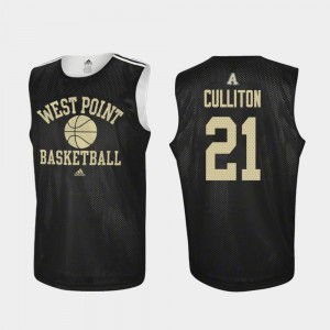 College Basketball Black Men Practice #21 Will Culliton Army Jersey 870625-120