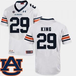 For Men's White Brandon King Auburn Jersey #29 College Football SEC Patch Replica 940886-229