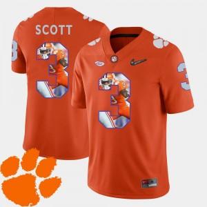 Mens Orange #3 Football Artavis Scott Clemson Jersey Pictorial Fashion 857427-879