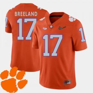 #17 College Football Orange 2018 ACC Men's Bashaud Breeland Clemson Jersey 567022-497
