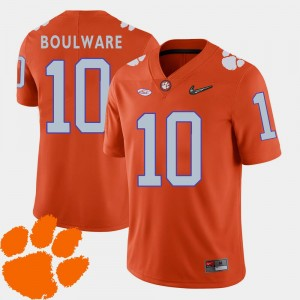 College Football 2018 ACC Men's #10 Ben Boulware Clemson Jersey Orange 689153-115