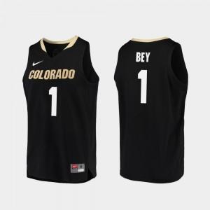 College Basketball Replica #1 Tyler Bey Colorado Jersey For Men Black 431131-581