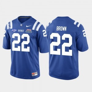Men's 2018 Independence Bowl College Football Game Brittain Brown Duke Jersey #22 Royal 274406-650