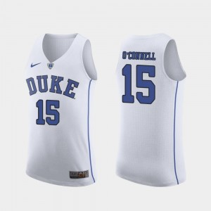 For Men Authentic Alex O'Connell Duke Jersey March Madness College Basketball #15 White 303749-387