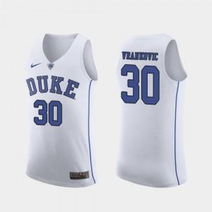 Antonio Vrankovic Duke Jersey March Madness College Basketball #30 White Mens Authentic 299354-953