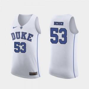 March Madness College Basketball Authentic Men #53 White Brennan Besser Duke Jersey 983093-797