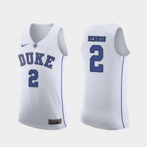 White March Madness College Basketball Cam Reddish Duke Jersey #2 Men Authentic 272561-898