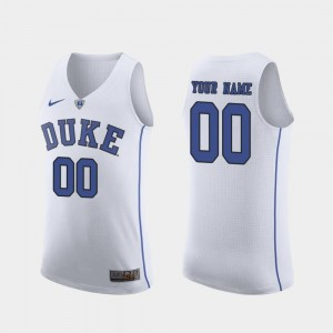 Duke Custom Jersey #00 For Men White March Madness College Basketball Authentic 219352-408