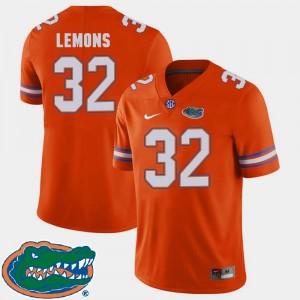 Adarius Lemons Gators Jersey College Football For Men's #32 Orange 2018 SEC 667968-741