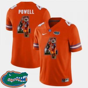 Orange Men Football Brandon Powell Gators Jersey #4 Pictorial Fashion 940680-445