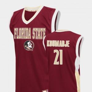 Red Fadeaway College Basketball Christ Koumadje FSU Jersey Men #21 503325-669