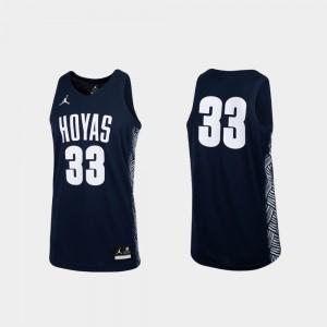 #33 Replica Georgetown Jersey College Basketball For Men Navy 895028-640
