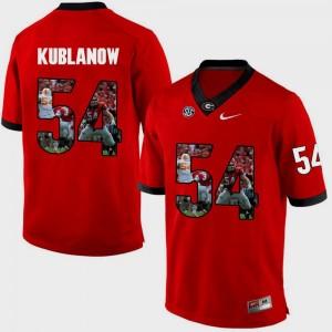 Men's Pictorial Fashion #54 Red Brandon Kublanow UGA Jersey 304315-718