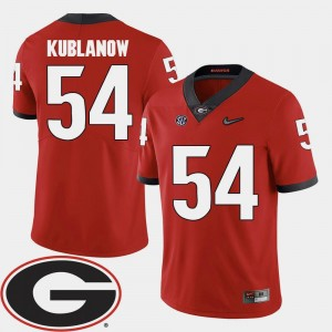 #54 2018 SEC Patch Red Brandon Kublanow UGA Jersey College Football For Men's 402175-394