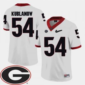 White Brandon Kublanow UGA Jersey College Football 2018 SEC Patch #54 Mens 197201-267