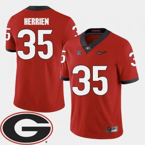 #35 Red College Football 2018 SEC Patch Brian Herrien UGA Jersey For Men 836538-148