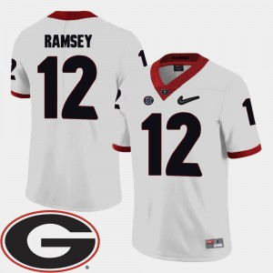 Mens #12 White College Football Brice Ramsey UGA Jersey 2018 SEC Patch 242927-329